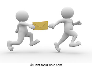 Envelope - 3d people character running with an envelope - 3d...