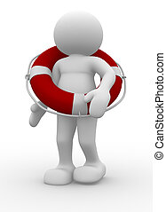 Lifebuoy - People character with lifebuoy - 3d render...