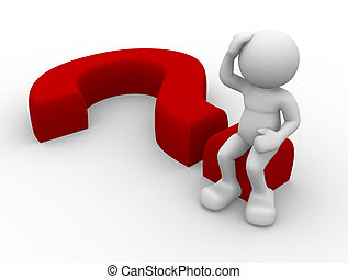 Question - 3d person character sitting on a question mark