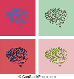 human brain in pop-art style illustration