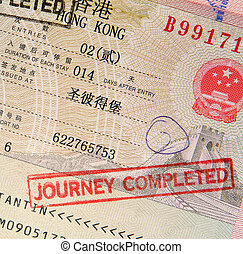 passport with hong kong visa and stamps