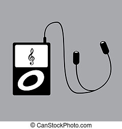 Portable mp3 player with phones - illustration