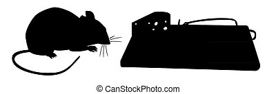 Mouse traps before - silhouette illustration