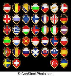 European flags-badges.