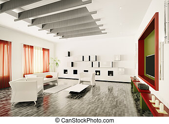 Modern living room interior 3d rend - Home interior of...
