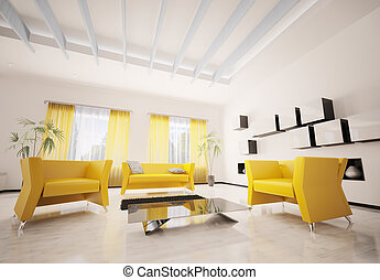 Modern living room interior 3d render - Interior of modern...