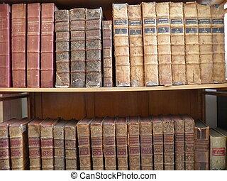 viejo, Libros, biblioteca, estante