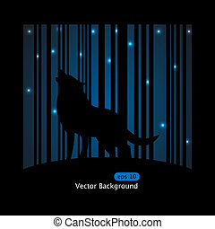Wolf - Vector picture about wolf barking on the moon on blue...