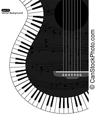 Musical background - Vector white and black musical...