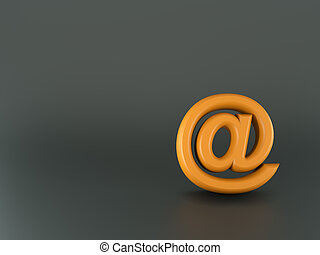 3d orange email sign on glossy background