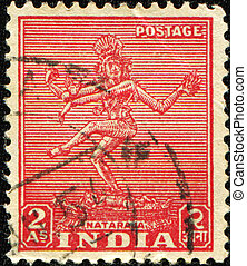 Nataraja - INDIA - CIRCA 1949: A stamp printed in India...