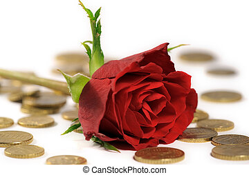 Red rose on euro coins