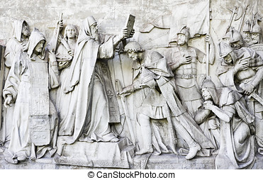 High relief - Moscow, Donskoy Monastery. High relief with...