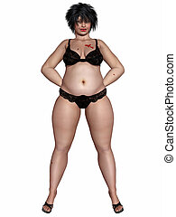 Overweight woman - 3d render of a overweight woman body in...