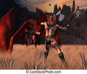 The Barbarian and the Dragon - Barbarian warrior fighting a...