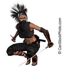 Female Fantasy Ninja - crouching - Female ninja crouching...