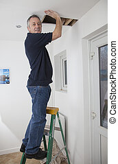 Home improvements - builder or house holder on ladder fixing...