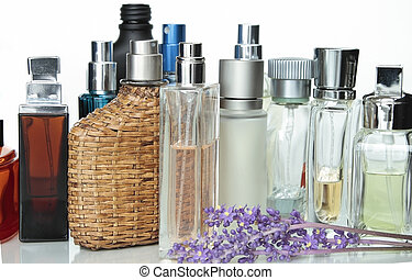 perfume - Perfume and fragrancies isolated in white...