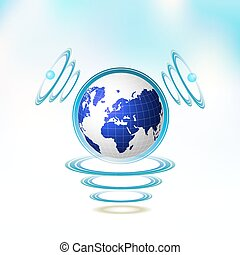 Blue Earth suspended with waves on blue background