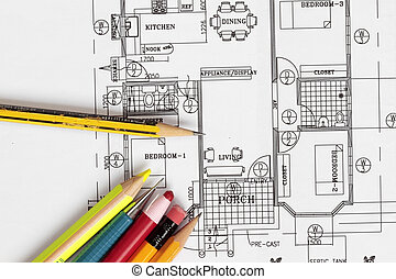 House Plan with pencils. Note : the plan is my original...