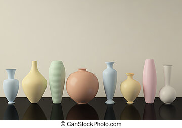 Vases in a row - Colorful Vases in a row