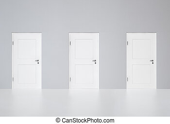 Three doors-Your Choice - Three white doors on the grey wall...