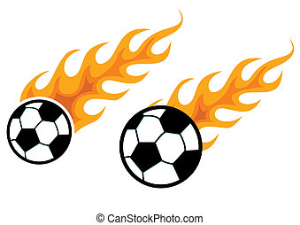 Soccer ball with fire trail, vector illustration