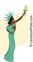 Black Liberty - Vector illustration of young black woman as...