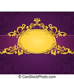 gold frame on purple background - gold oval frame with a...