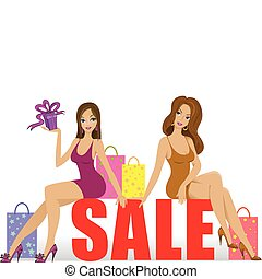 Two girls on sale - Two beautiful girls sitting on a big...