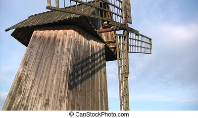 Old wooden windmill - Vertical panorama of old wooden...