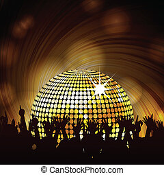 sparkling disco ball and crowd