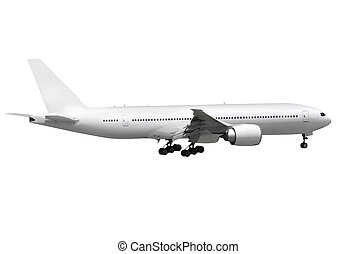 airplane on white background - commercial airplane on white...