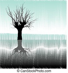 Tree in water - Drawing lone deciduous tree on the lakeside...