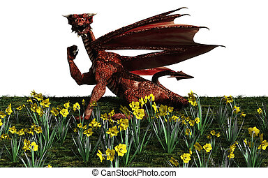 Welsh Red Dragon - Welsh red dragon and daffodils for St....