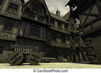 Mediaeval or Fantasy Town - Street Scene set in a European...