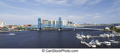 blue bridge spanning the Saint John's River - stitched...