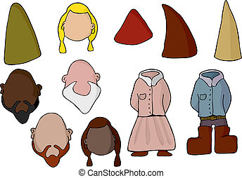 Paper Doll Gnome Set - Fill in your own face with this set...