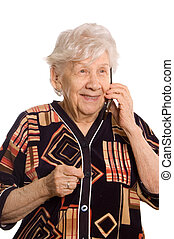 The elderly woman speaks on the phone