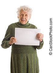 Portrait of a happy senior woman holding blank billboard...