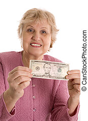 The elderly woman with a five-dollar denomination