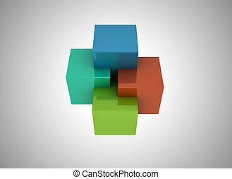 3D Cubes colored abstract background