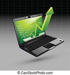 Upward Arrow from Laptop - illustration of upward arrow...