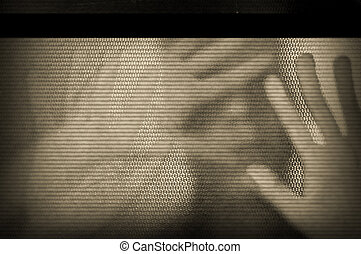 flickering television screen - Distorted male figure behind...