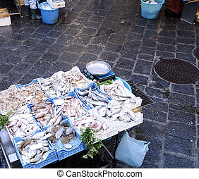 Fish market - Stand with the fish on the fish market in...