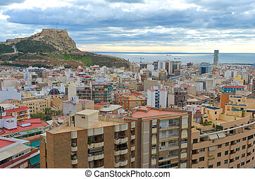 Santa Barbara Caste, Alicante, Spain - View of fortress of...