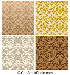 seamless damask pattern set - Damask seamless vector pattern...