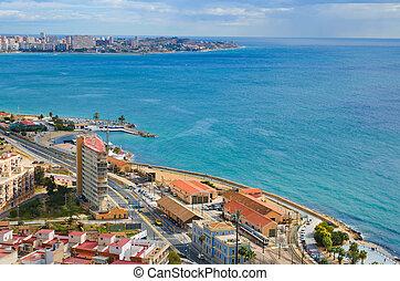 Alicante sea panorama - The beach line in Alicante, Spain