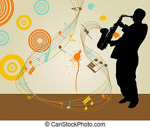 saxophonist - Jazz saxophonist retro theme. Vector...
