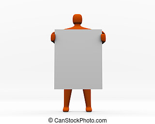 Anonymous 3d man holding a blank board